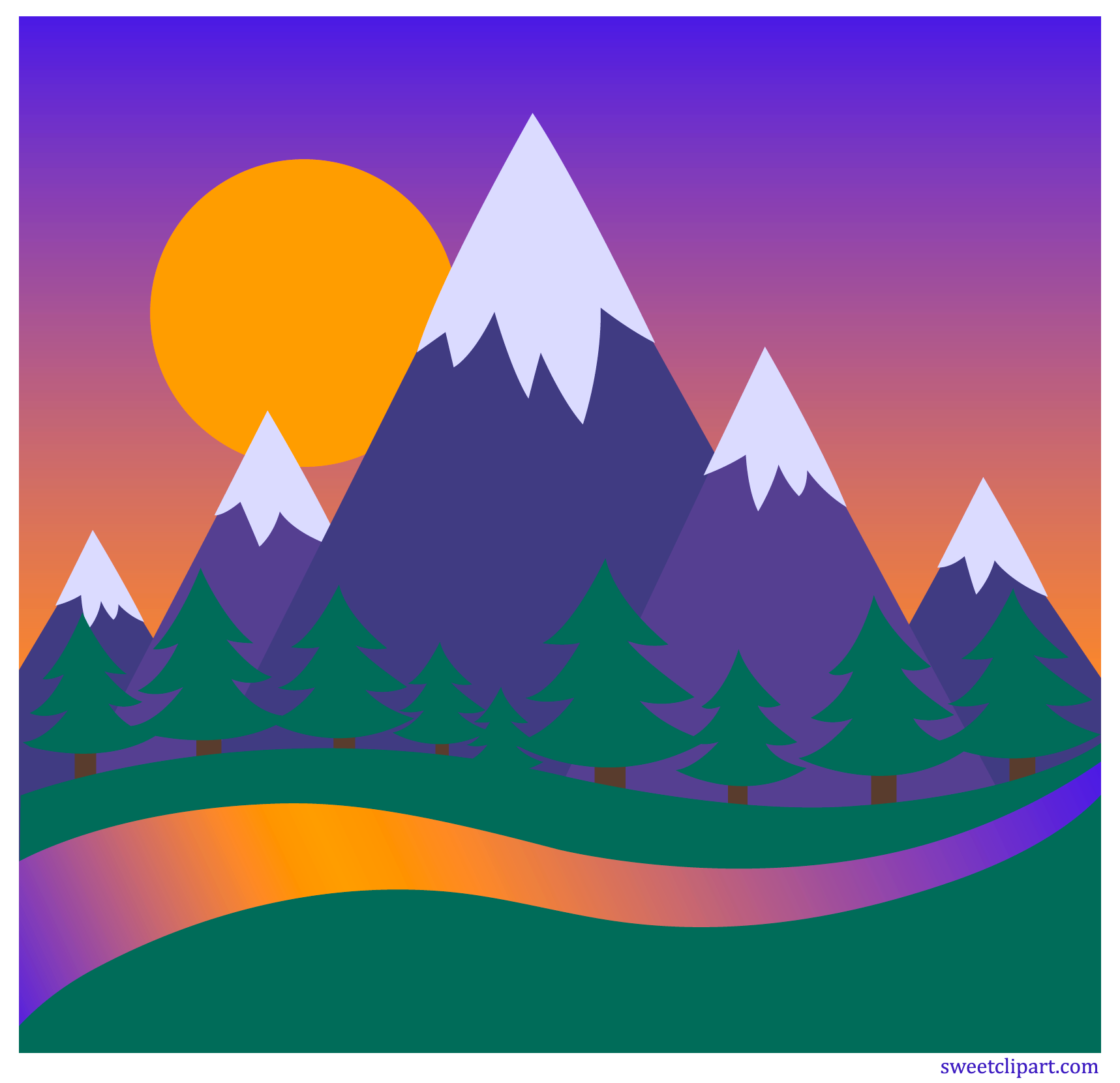 Mountain sunset clipart
