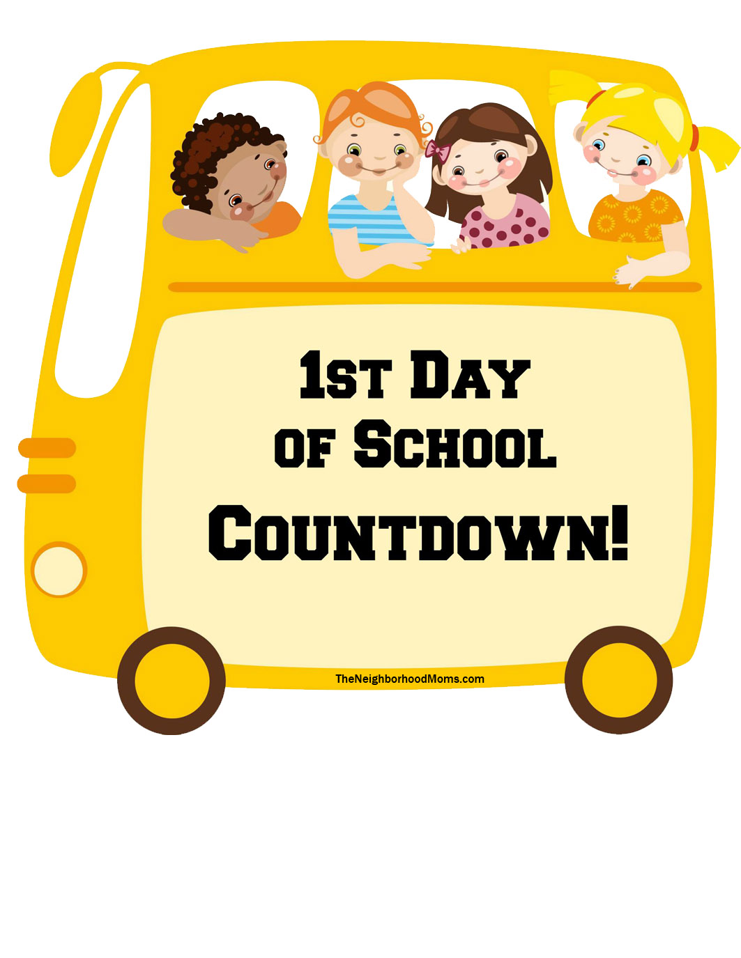 Countdown back to school clipart jpg free download Back to School Countdown Printable - The Neighborhood Moms jpg free download