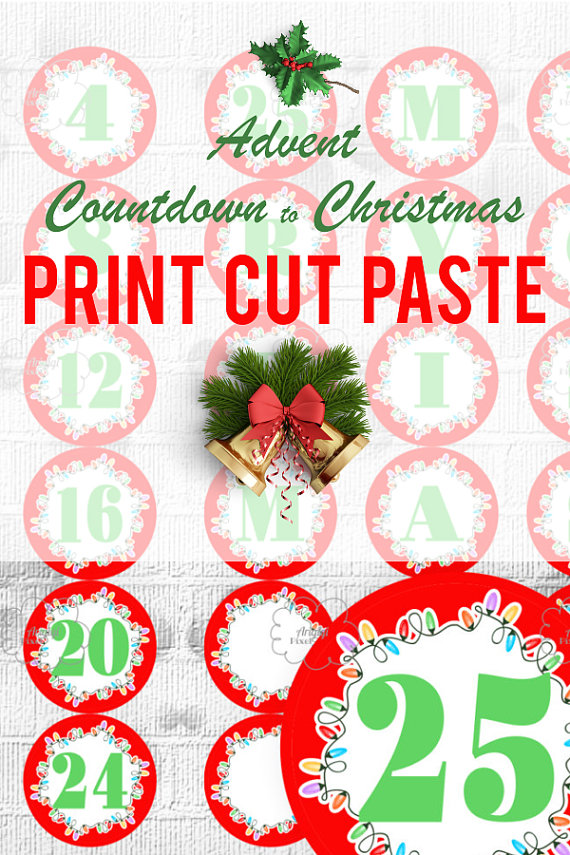 Countdown letter 1 clipart clip library library Printable Advent Calendar, Countdown Christmas, Number 1-25 and ... clip library library