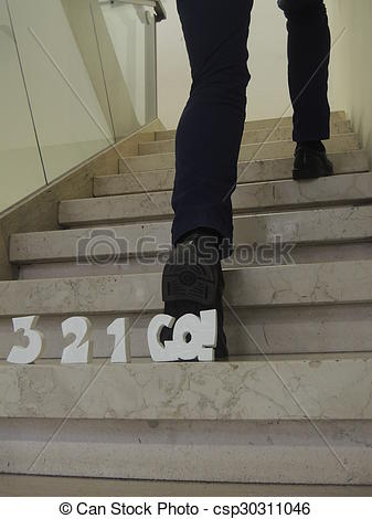 Countdown letter 1 clipart svg royalty free library Stock Photo of Countdown 3-2-1-go! behind man leaping up stairs ... svg royalty free library
