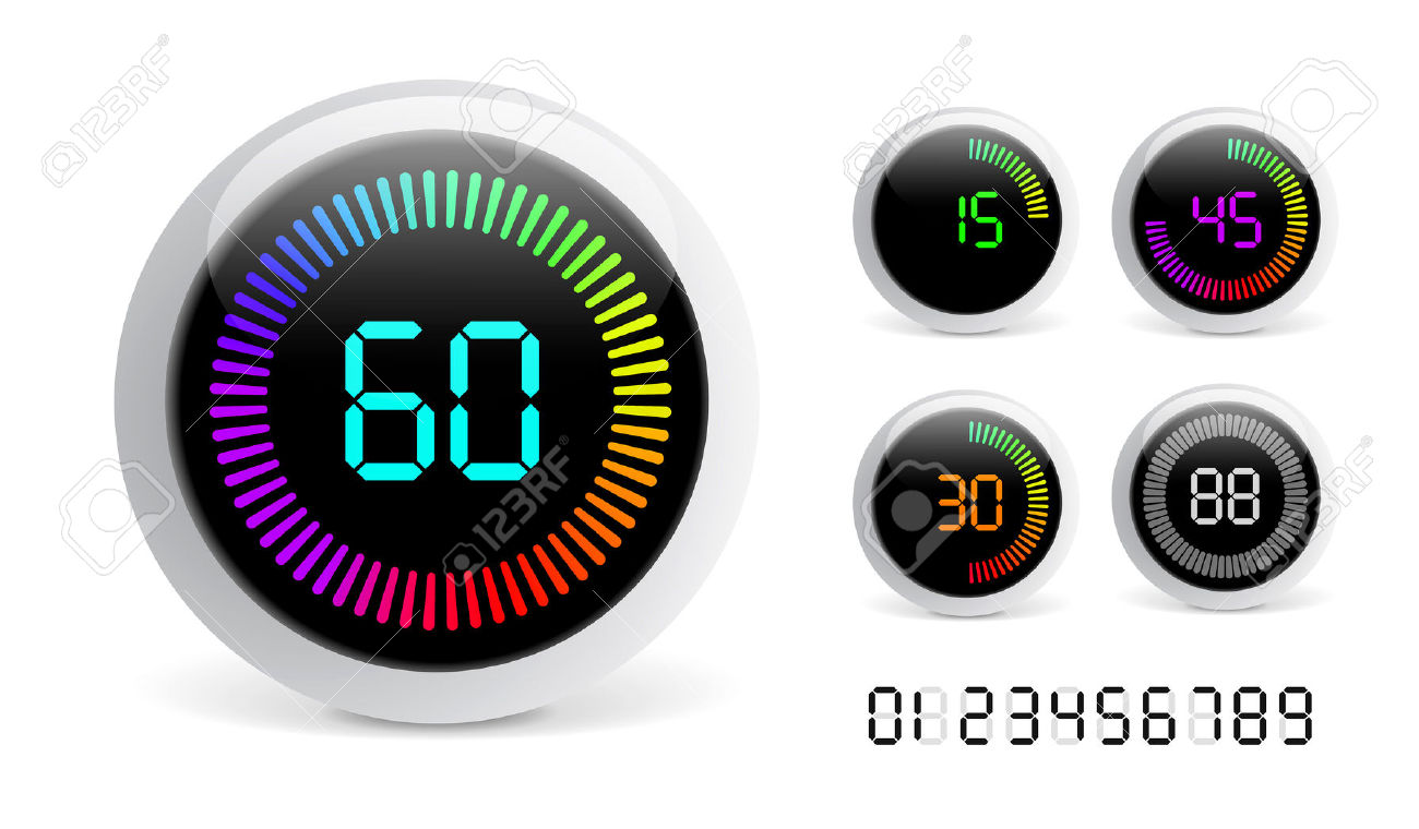 Vector digital isolated on. Countdown timer clipart