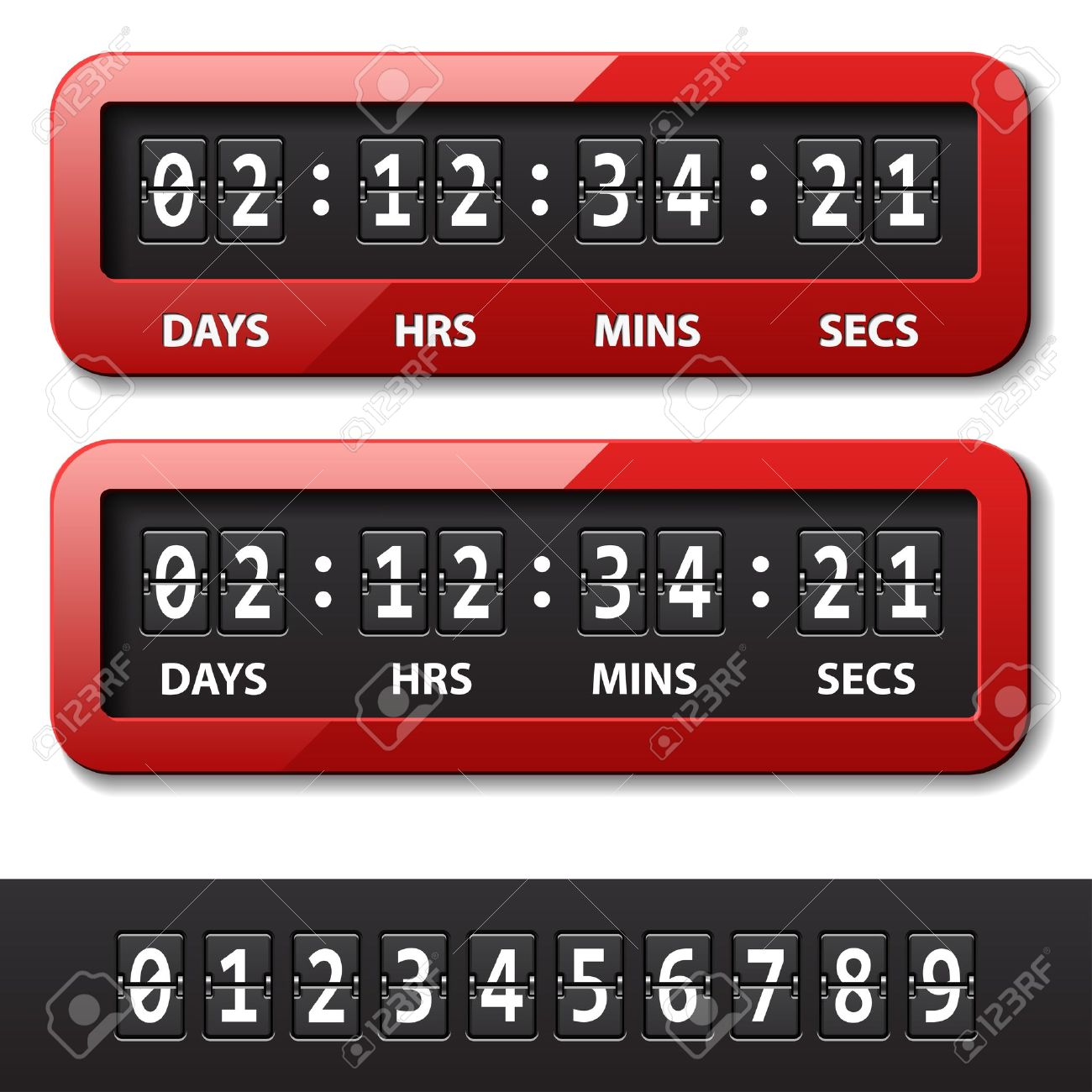 Countdown timer clipart. Vector red mechanical counter