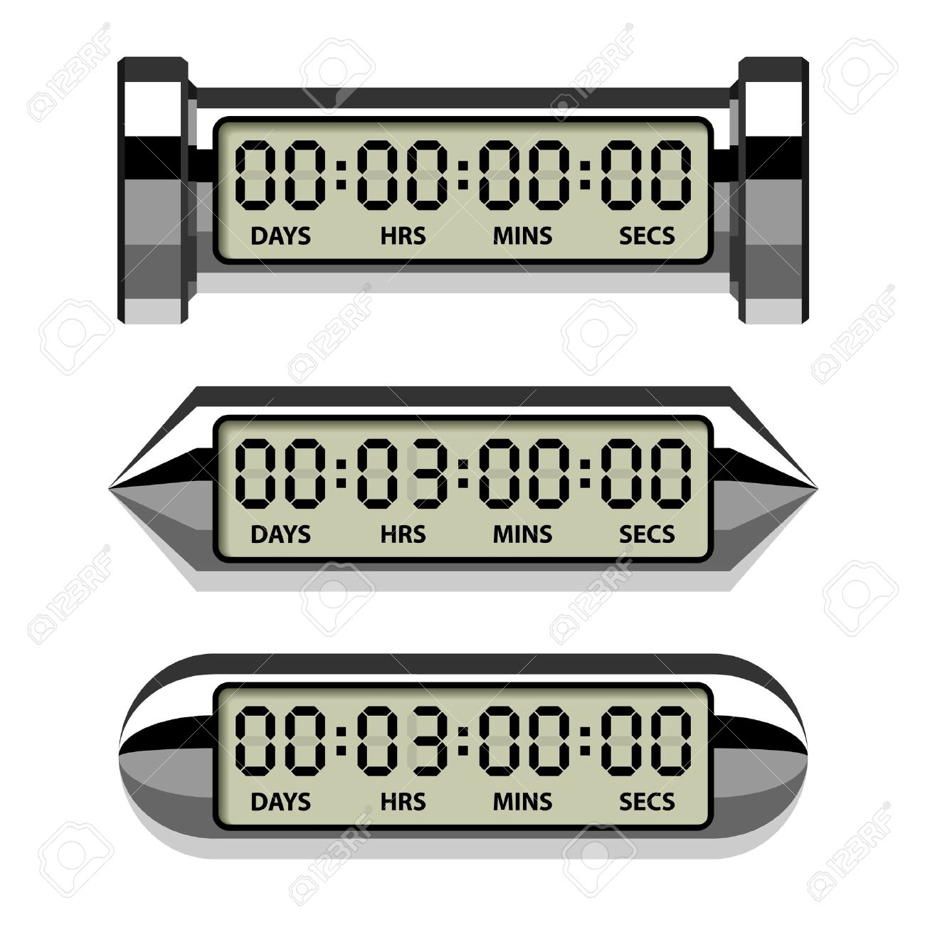 Vector chrome lcd counter. Countdown timer clipart
