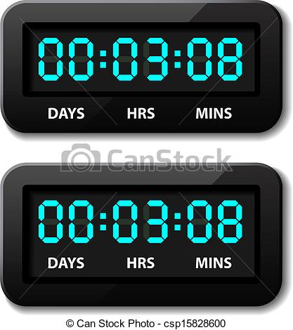 Vector of glowing digital. Countdown timer clipart