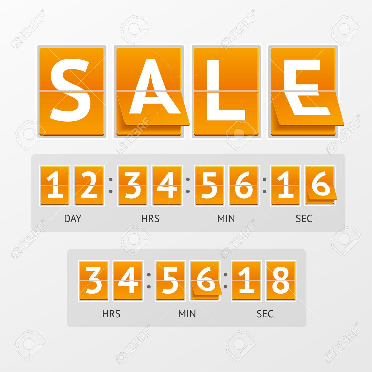 Countdown timer clipart clip art transparent Vector Illustration Countdown Timer Sale. White Letters On Orange ... clip art transparent