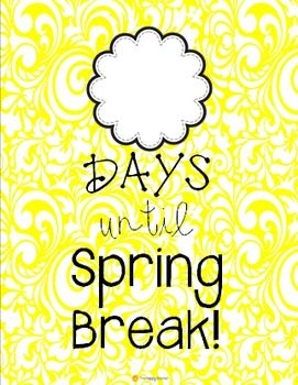 Countdown to spring clipart svg black and white stock Countdown to Spring Break poster! Free! Just print & laminate ... svg black and white stock