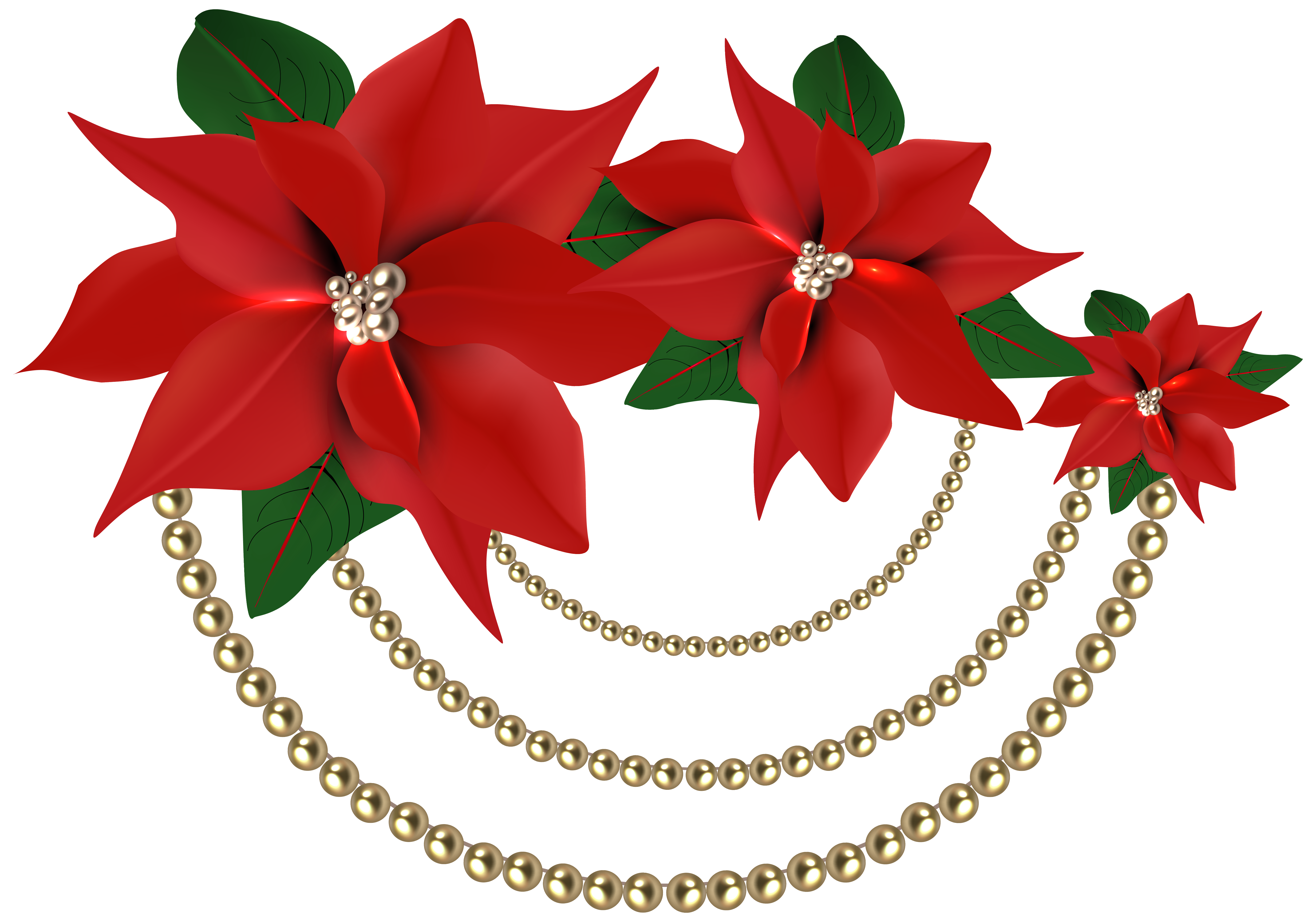 Country christmas clipart picture download Decorative Christmas Poinsettias with Pearls PNG Clipart Image ... picture download
