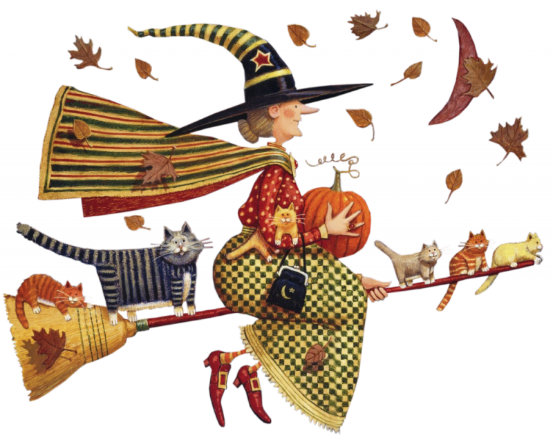 Folk art pumpkin clipart clip download Folk art style witch taking a spin with her cats on her broom ... clip download