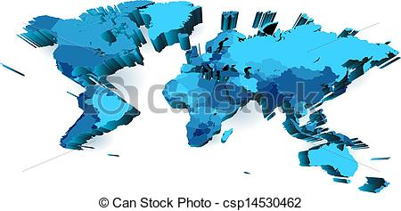 Country world map clipart banner transparent Clip Art Vector of World map with countries, extruded with ... banner transparent