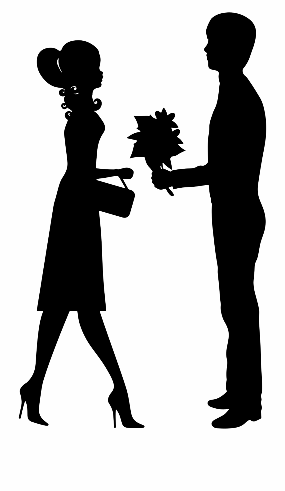 Couple clipart free banner freeuse Romantic Young Couple Silhouette Clip Art - Couple Clipart ... banner freeuse