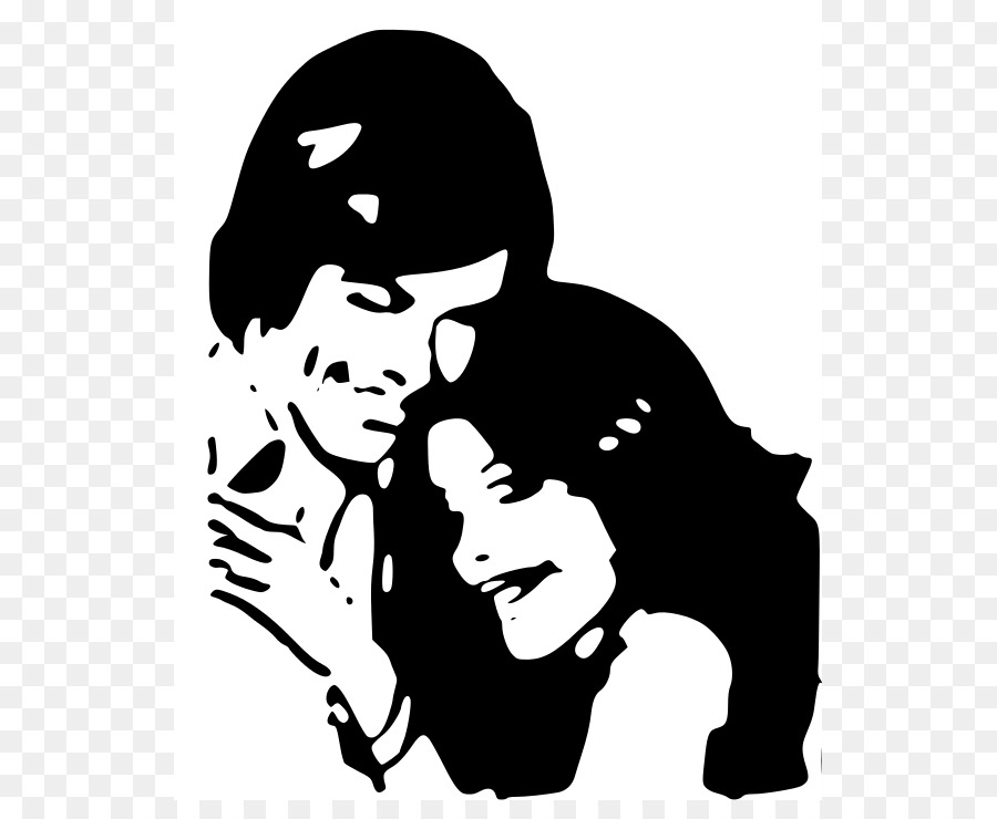 Hugs and kiss clipart black and white vector free Love Black And White png download - 585*723 - Free ... vector free