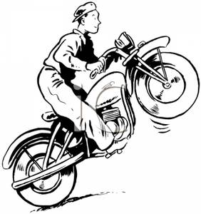Couple riding motorcycle black and white clipart clipart royalty free download A Black and White Cartoon of a Man Riding a Motorcycle on ... clipart royalty free download
