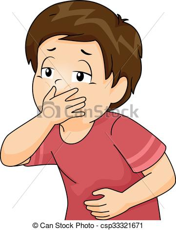 Cover mouth clipart jpg black and white Vectors Illustration of Kid Boy Throw Up Cover Mouth ... jpg black and white