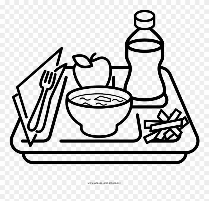 Covered dish lunch black and white clipart clip art library download Coloring Pages Of Food - Drawing Of Meal Tray Clipart ... clip art library download