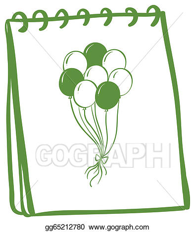 Coverpage clipart graphic transparent Vector Art - A notebook with a drawing of balloons at the cover page ... graphic transparent