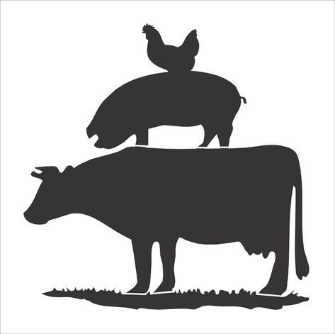 Stacked barnyard animals clipart black and white svg free stock Cow Pig Chicken stencil - Farm animals stencil - stacked cow pig ... svg free stock