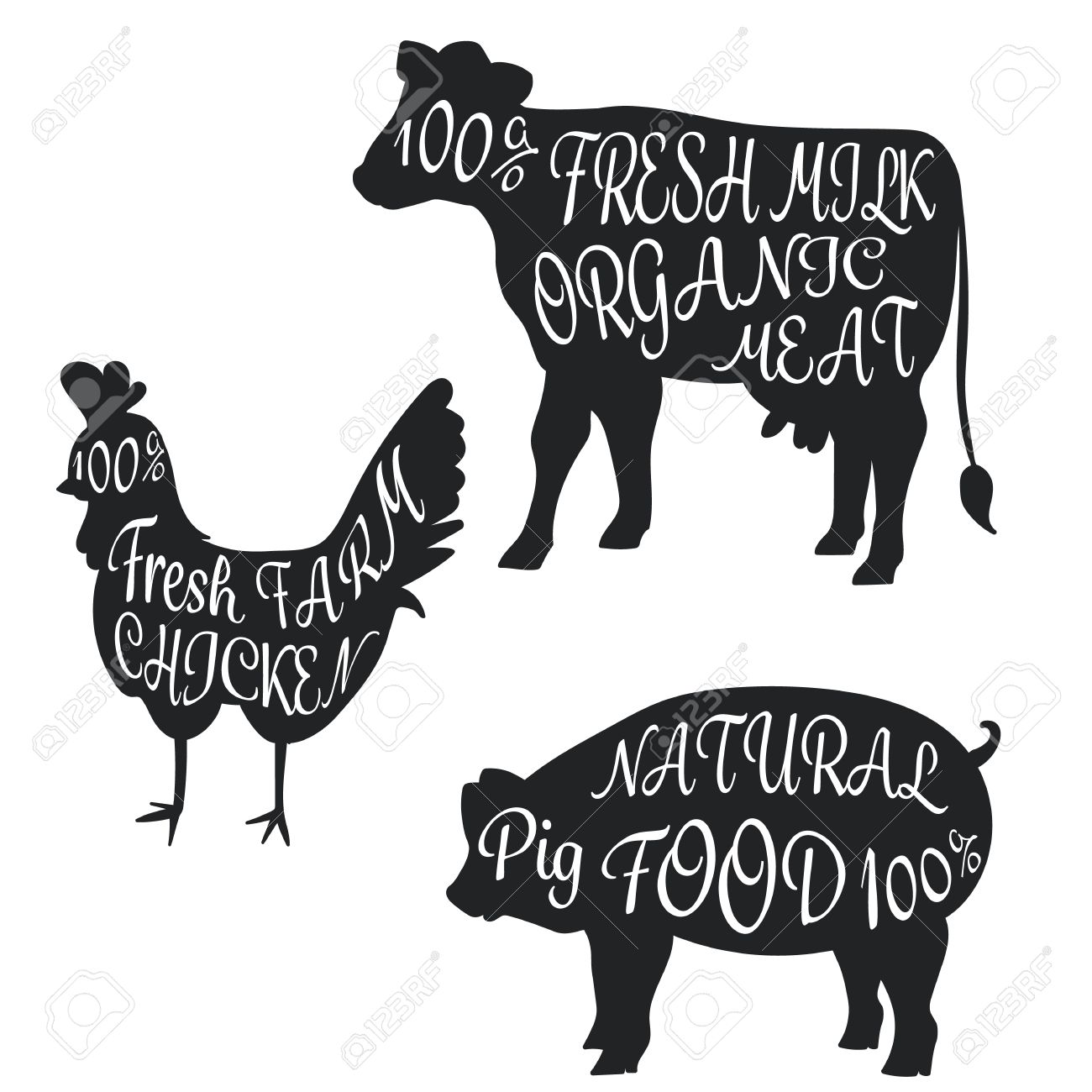 Cow and chicken clipart black and white free picture library Cow Pig Chicken Clipart picture library