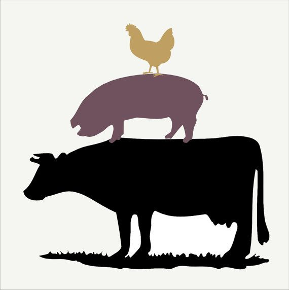 Cow and chicken clipart black and white free free Cow Pig Chicken Clipart free