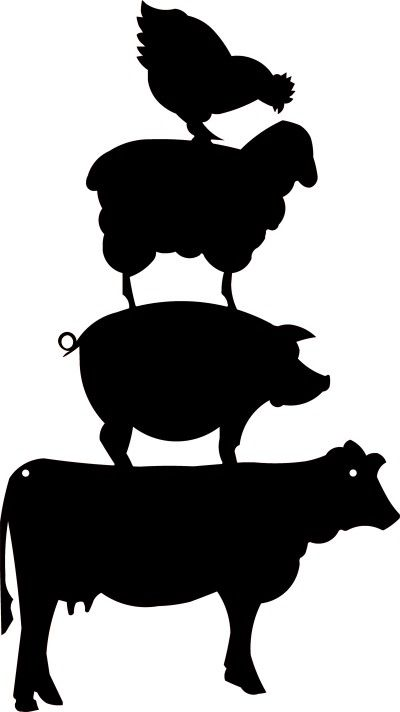 Cow and chicken clipart black and white free png stock Cow silhouette pig silhouette clip art download free versions of the ... png stock