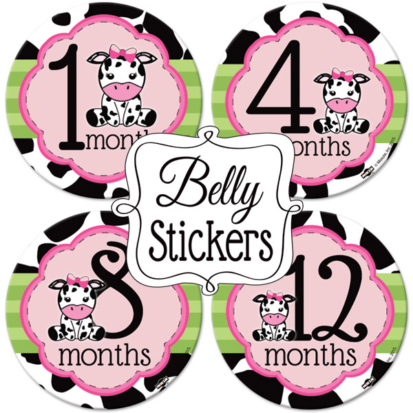 Cow print 1st birthday clipart clip black and white library Baby Girl Cow Print 1st Year Belly Stickers (12) at Birthday Direct clip black and white library