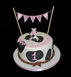 Cow print 1st birthday clipart