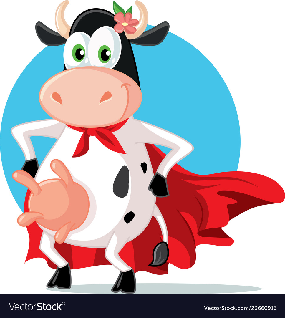 Cow with mask and cape cartoon clipart vector transparent download Funny super heroine cow mascot cartoon vector transparent download