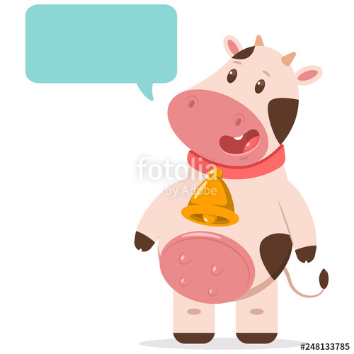 Cow with mask and cape cartoon clipart graphic stock Cute cow in golden bell with speech bubble. Vector cartoon farm ... graphic stock