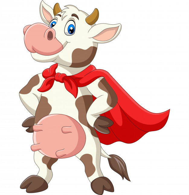 Cow with mask and cape cartoon clipart clip art stock Cartoon superhero cow in red cape posing Vector | Premium Download clip art stock