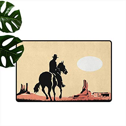 Cowboy and his horse looking out over the sunset clipart picture library Amazon.com : Western, American Floor mats Image Art of Cowboy Riding ... picture library