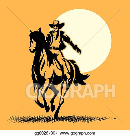 Cowboy and his horse looking out over the sunset clipart svg black and white stock Vector Clipart - Wild west hero, cowboy silhouette riding horse at ... svg black and white stock