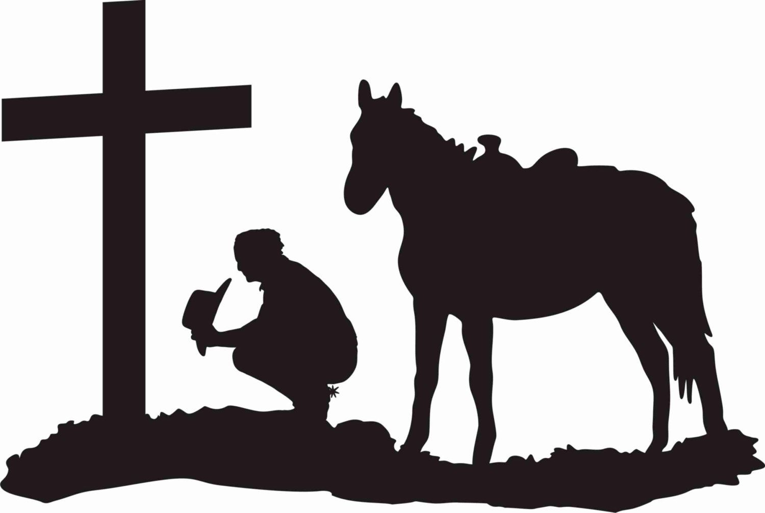 Cowboy church clipart free black and white download Cowboy at the cross praying, cowboy and horse kneeling at the cross ... black and white download