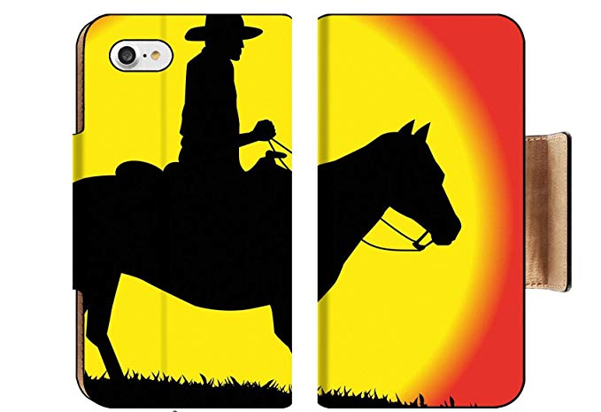 Cowboy and his horse looking out over the sunset clipart image transparent Amazon.com: MSD Apple iPhone 8 Flip Pu Wallet Case Image ID 34735949 ... image transparent