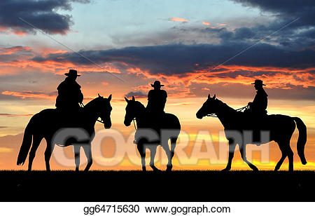 Cowboy and his horse looking out over the sunset clipart jpg transparent download Drawing - Silhouette cowboys. Clipart Drawing gg64715630 - GoGraph jpg transparent download
