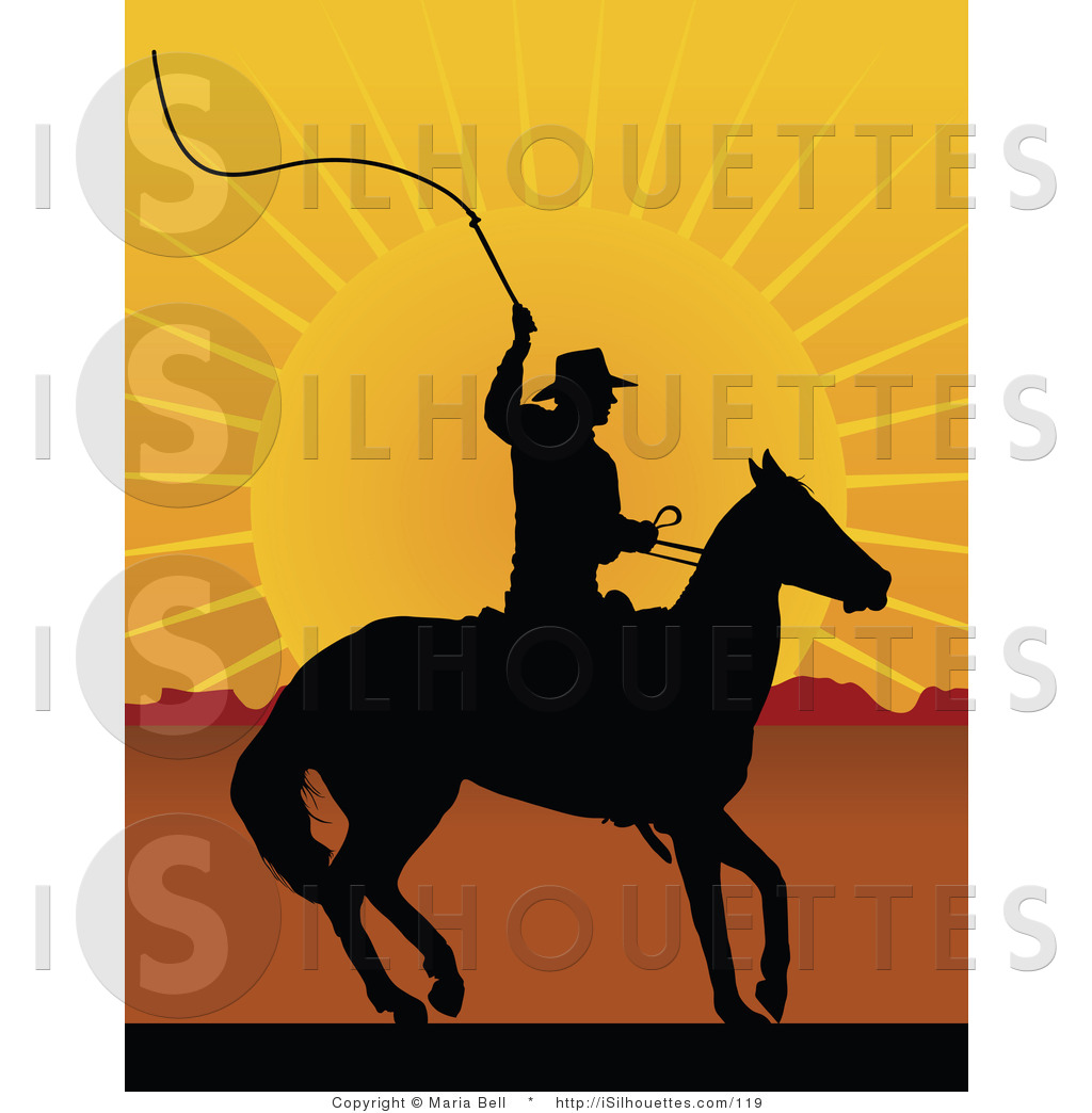 Cowboy and his horse looking out over the sunset clipart svg royalty free download Silhouette Clipart of a Cowboy on Horseback, Preparing to Swing a ... svg royalty free download