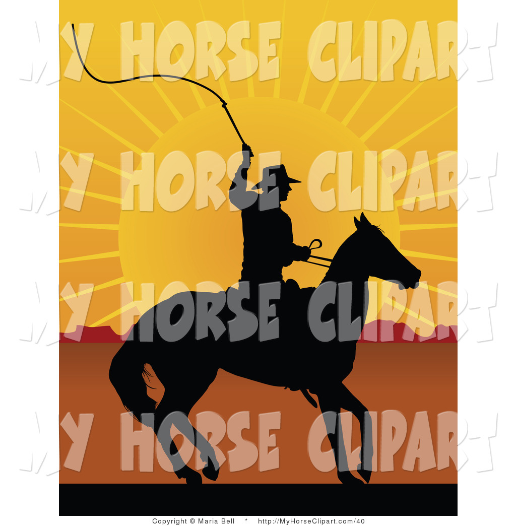 Cowboy and his horse looking out over the sunset clipart clipart freeuse download Clip Art of a Black Silhouetted Cowboy on Horseback, Preparing to ... clipart freeuse download