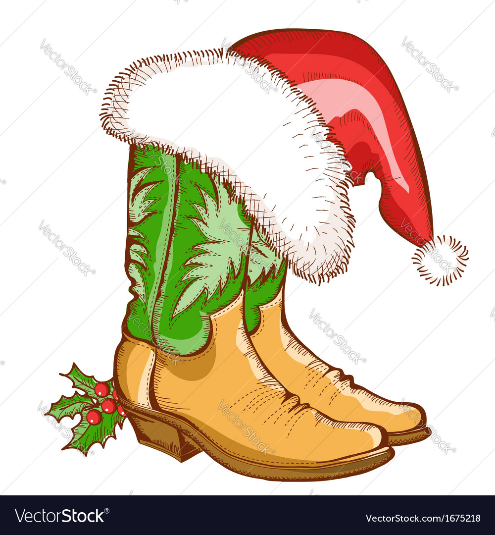 Christmas Cowboy boots and Santa hat picture library library