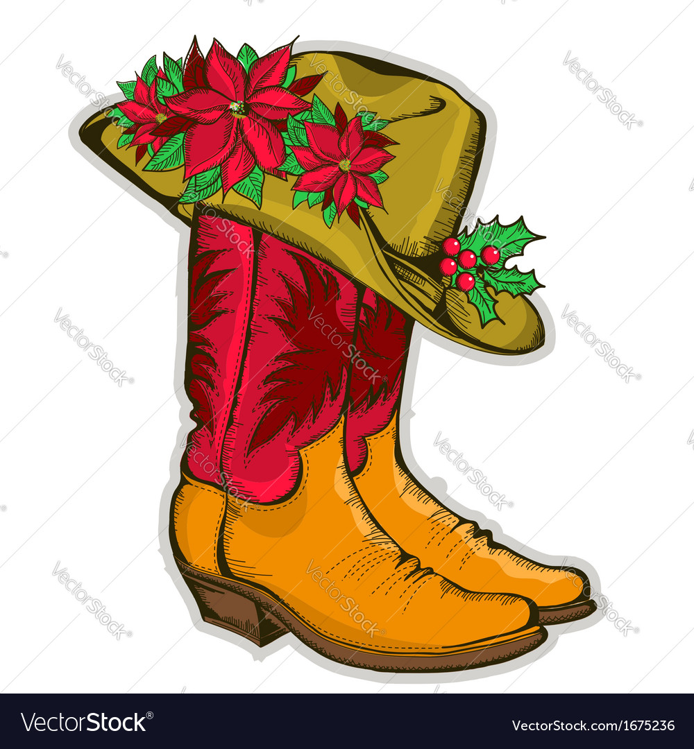 Christmas Cowboy boots and western hat with clipart free download