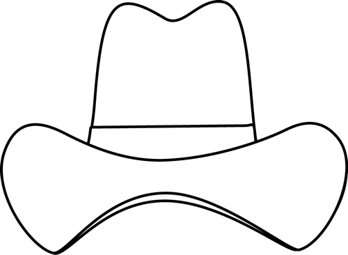 Cowboy hat clipart black and white free library Black and White Simple Cowboy Hat | Templates | Cowboy hat crafts ... free library