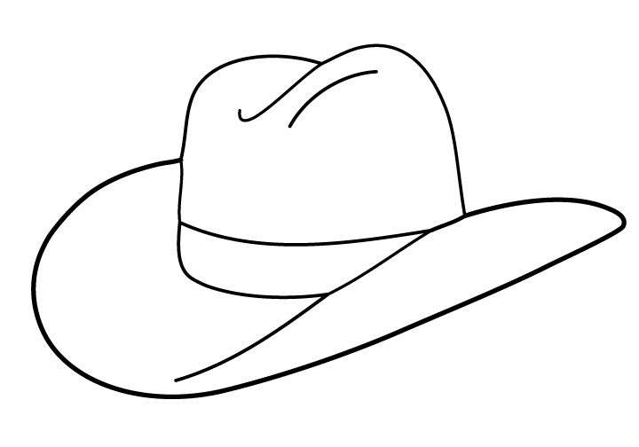 Silhouette cowboy hat clipart black and white