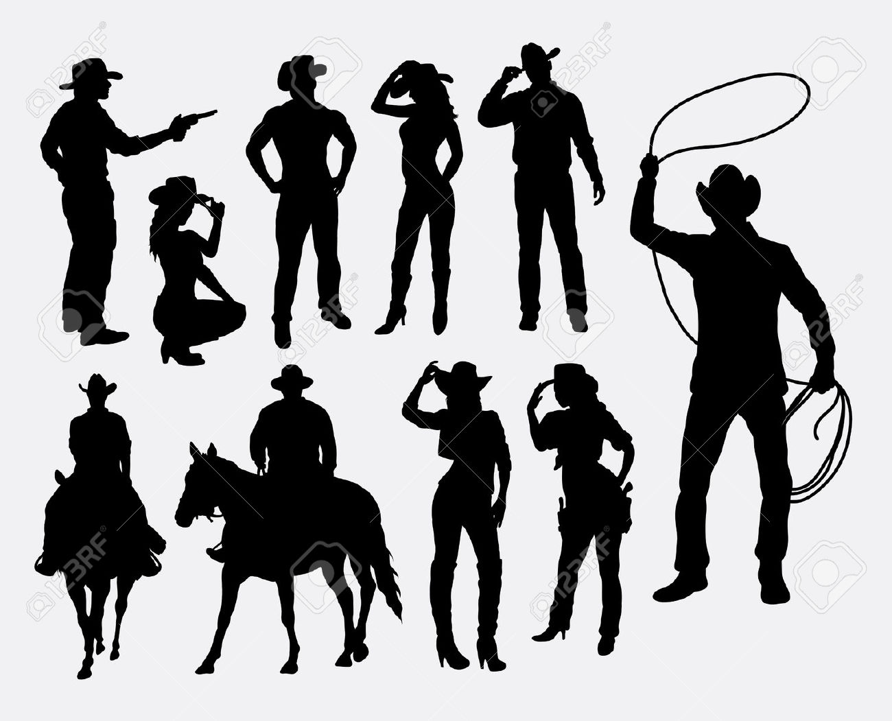 Cowboy silhouette patterns free clipart. Cowboys in a row