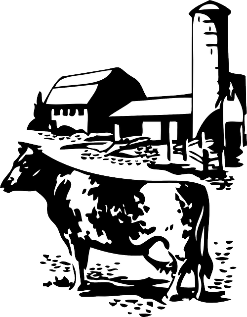 Farm house clipart black and white clipart free stock BARN, FARM, COW, DAIRY, ANIMAL, ANIMALS, SILHOUETTE - Public ... clipart free stock