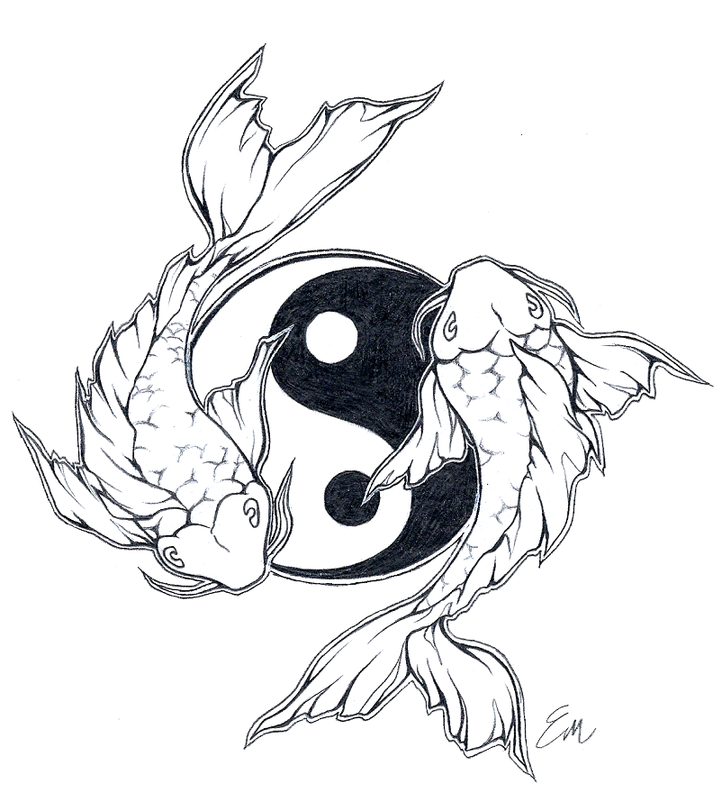 Coy fish clipart graphic transparent download Yinyang Koi fish tattoo design by Les-belles-soeurs.deviantart.com ... graphic transparent download