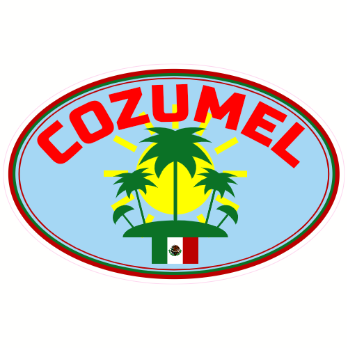 Cozumel clipart vector black and white download Cozumel Mexico Sunshine Palm Tree Sticker vector black and white download