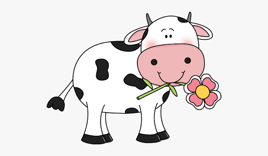 Free cute cow clipart graphic library download Cow With A Flower In Its Mouth Udderly Adorable - Cute Cow Clipart ... graphic library download