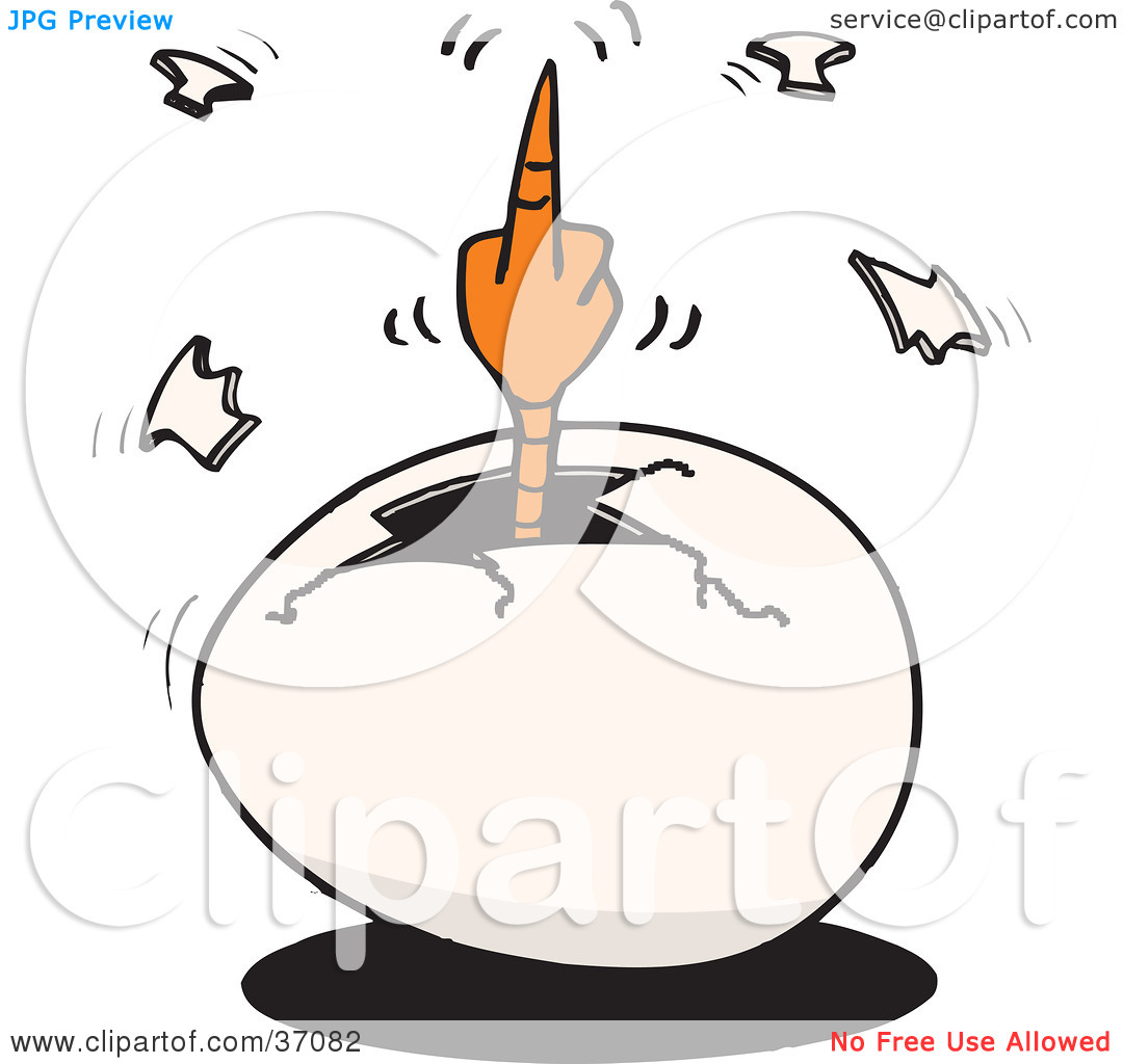 Crack egg clipart vector transparent stock Clipart Illustration of a Mad Hatching Chick Flipping The Bird ... vector transparent stock