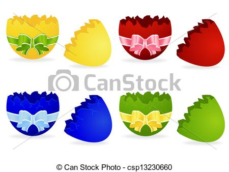 Cracked easter egg clipart library Clip Art Vector of set the broken Easter egg with bow isolated on ... library
