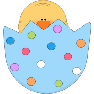 Chick in a clip. Cracked easter egg clipart