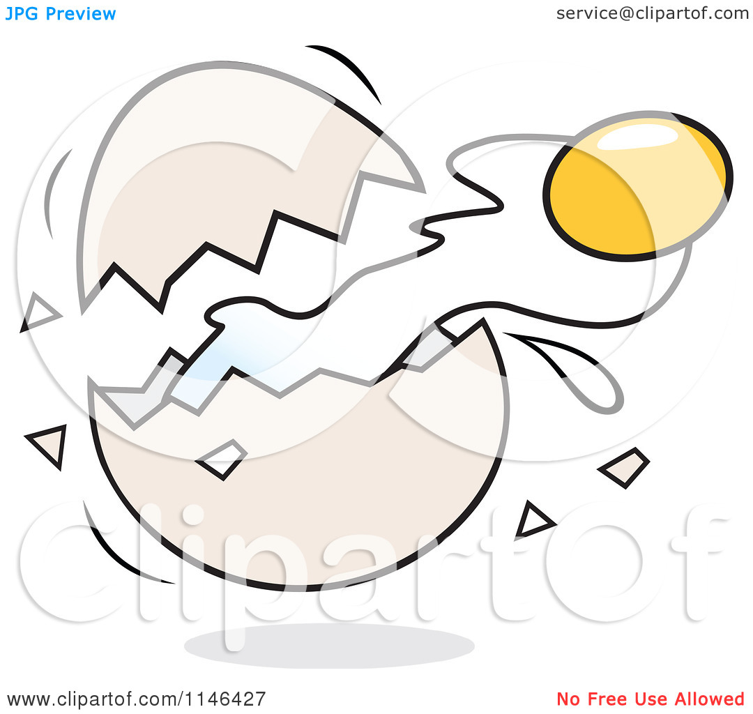 Cracked egg clip art picture freeuse download Cartoon of a Yolk Flying from a Cracked Egg - Royalty Free Vector ... picture freeuse download