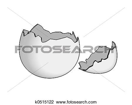 Cracked egg shell clip art vector black and white Stock Photo of Eggshell broken 2D k0515122 - Search Stock ... vector black and white
