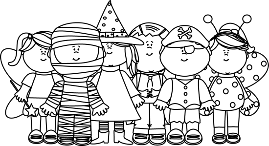 Black and White Halloween Kids | draw | Halloween clipart, Holiday ... banner royalty free library